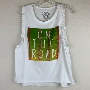 NWOT Chaser On The Road Ruffle Muscle Tee